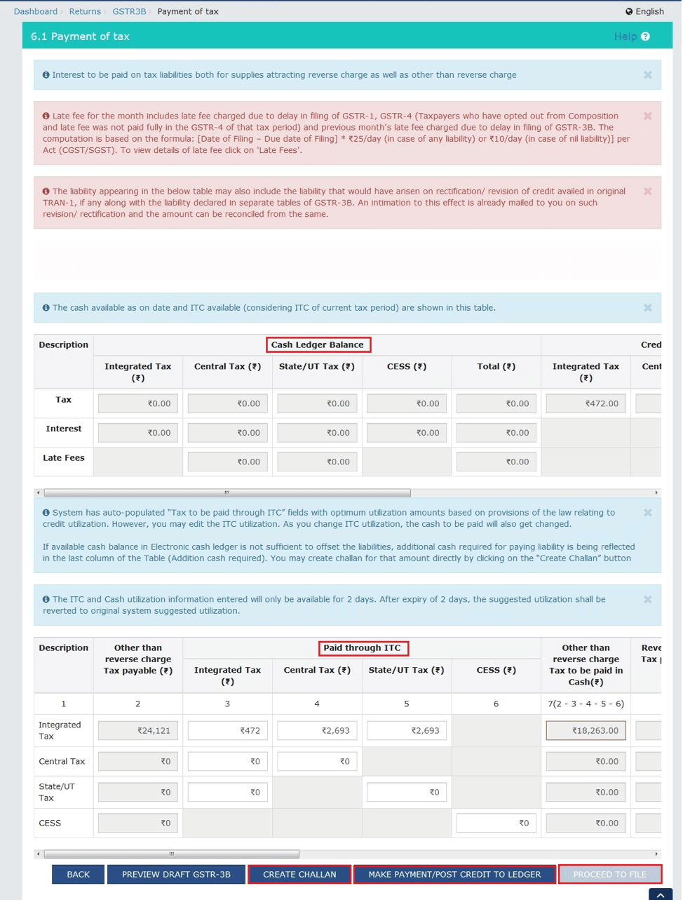 How to file GST returns - Proceed to Payment page